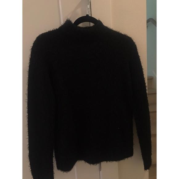 Black, fuzzy mock neck sweater